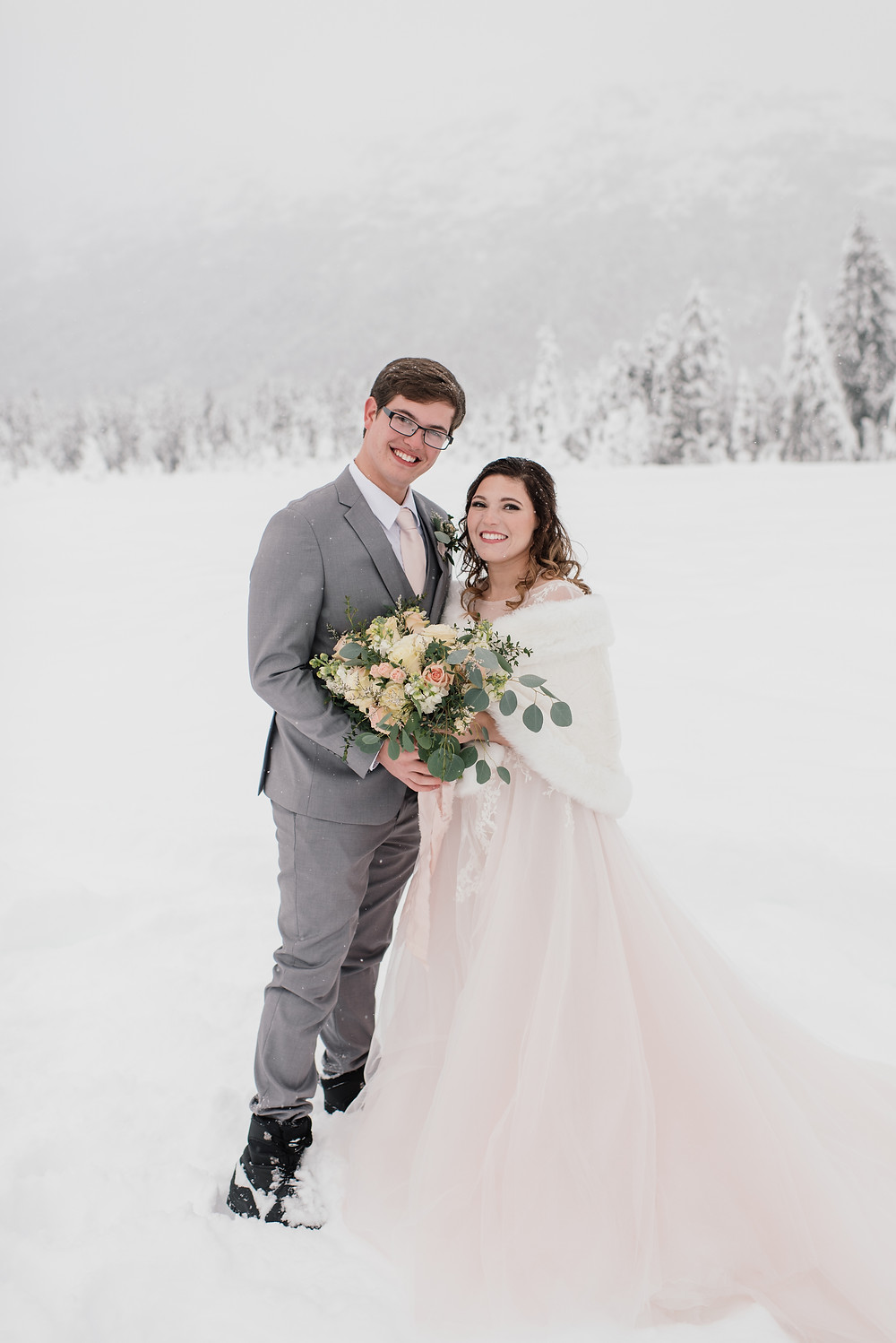 Adventure elopement in Alaska, stylish couple with vintage flair