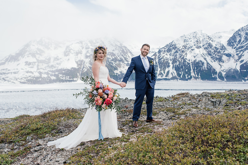Helicopter ceremony, Elope to Alaska with guests, private and remote location, alaska peony bridal bouquet
