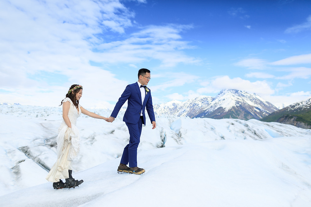 Hiking out to glacier ceremony. Elope to Alaska with La Boum Events