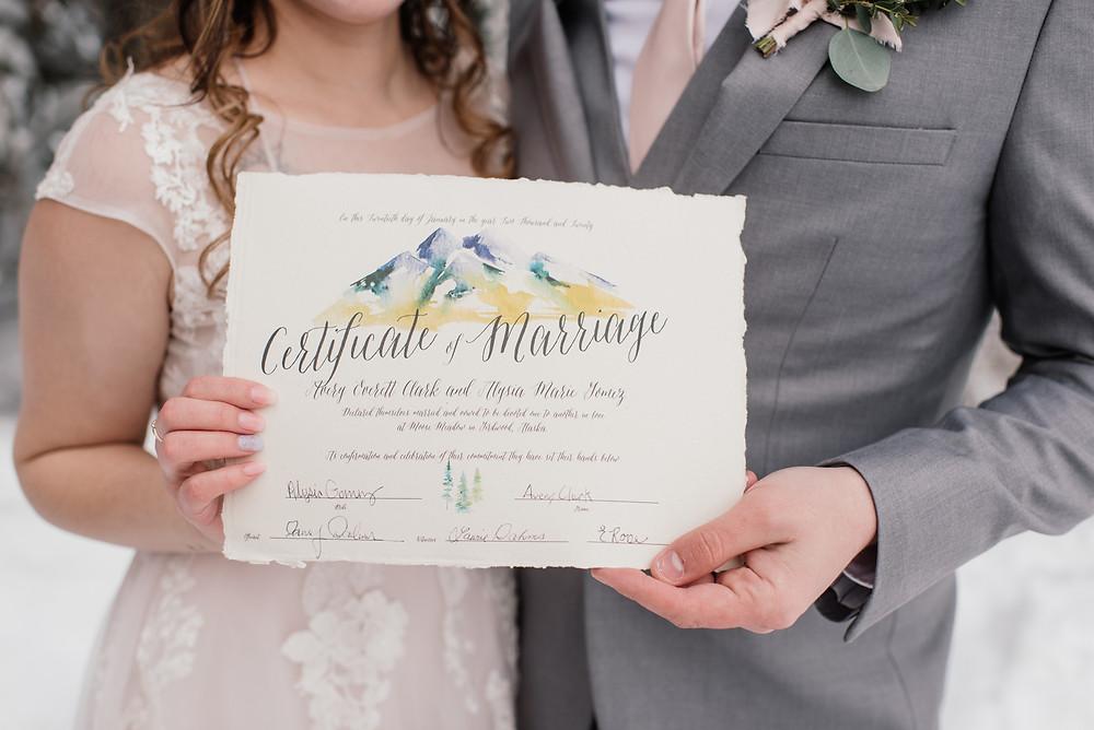 heirloom marriage certificate, natural, hand torn paper, Alaska