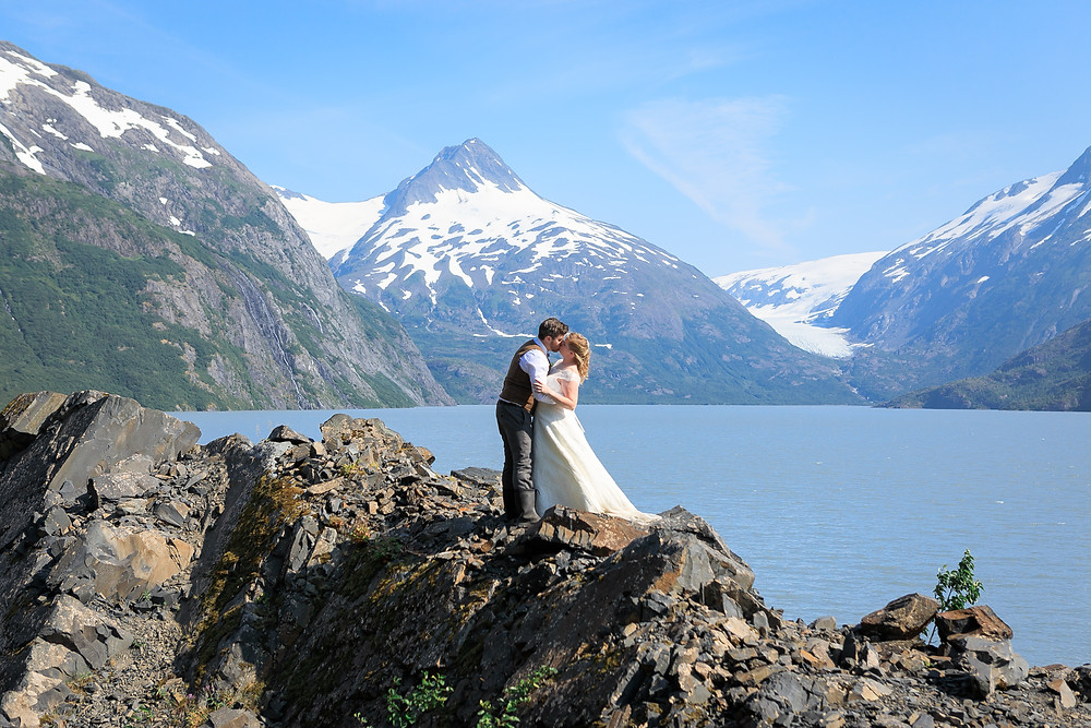 Alaska destination wedding, Portage Glacier, Elope to Alaska, Couple photography