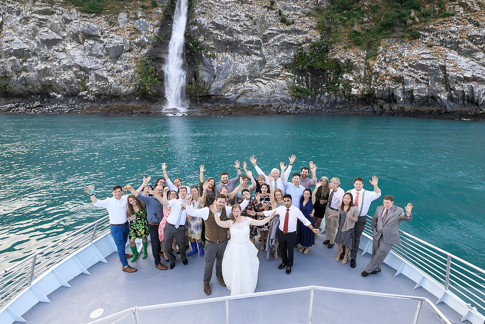 Micro wedding, alaska destination wedding, glacier charter