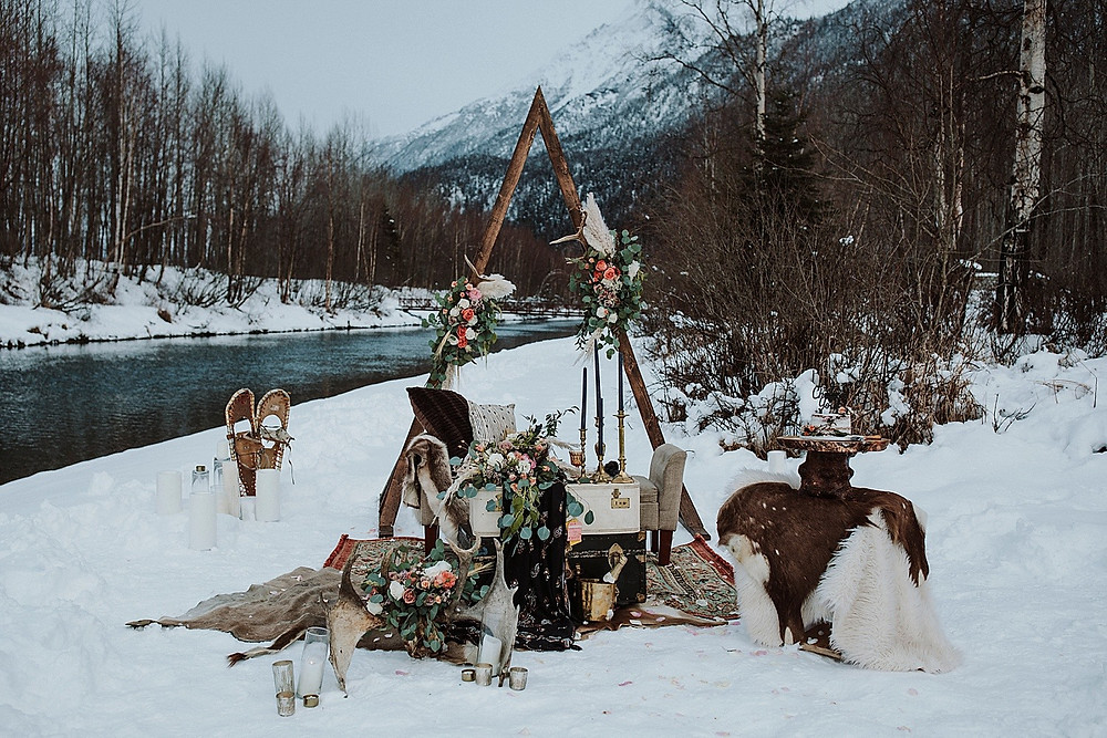 Winter elopement styled with Nordic, Viking design