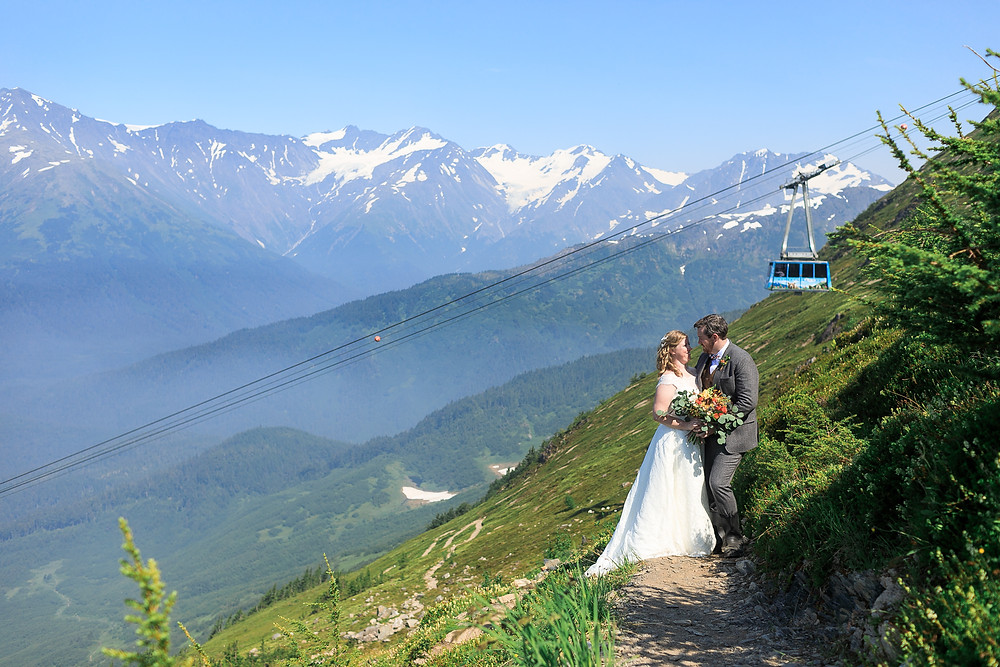 Alaska destination wedding, Girdwood tram, couple photography