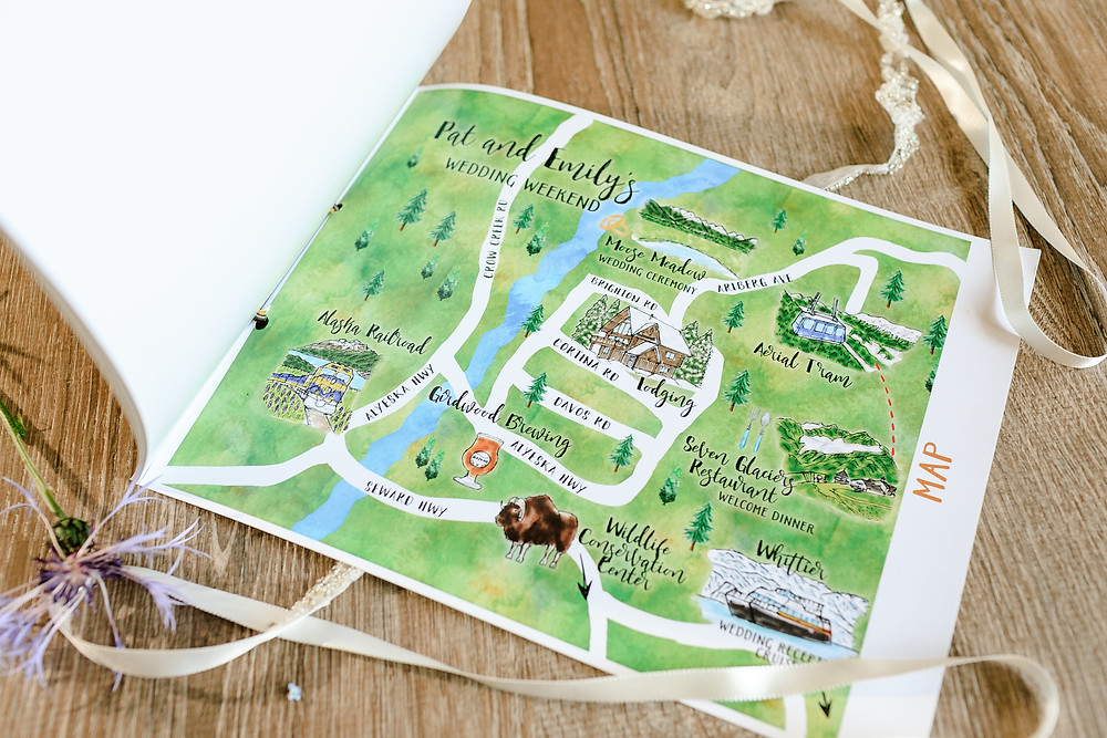 Custom Girdwood map for Alaska destination wedding