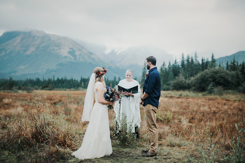 Alaska adventure elopement with Christian ceremony at Moose Meadows, Girdwood, AK
