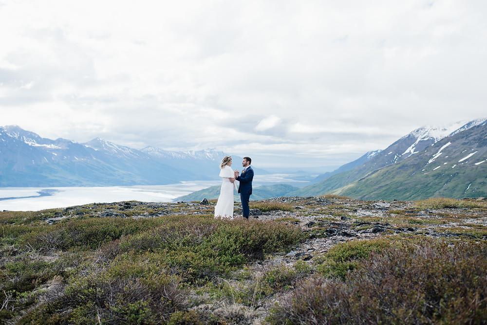 views of Knik Glacier, alpine ceremony location, private alaska ceremony elopement