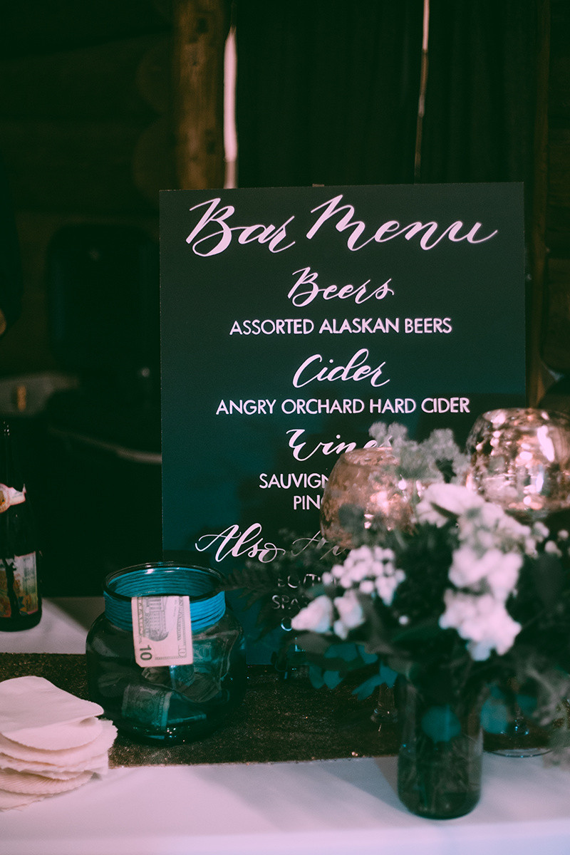 Wood Bar Menu, Alaska Wedding Planner Styling
