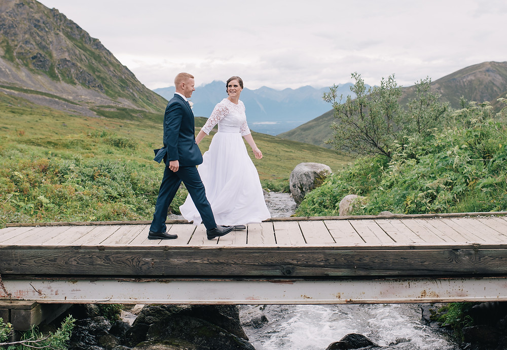 Simple Alaska mountain top elopement with La Boum Events