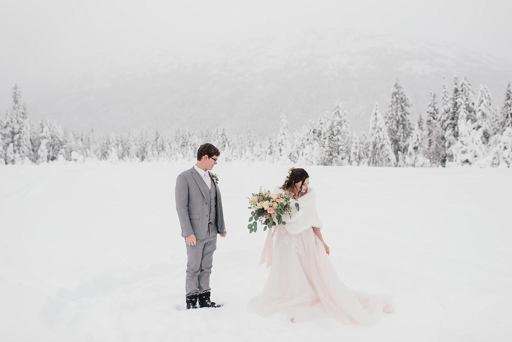 Beautiful elopement in Girdwood, Alaska. Elope to Alaska
