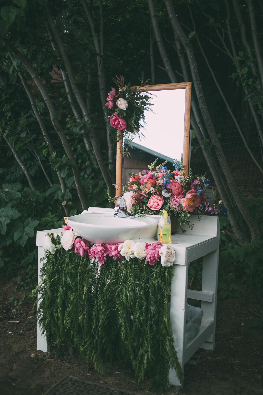 hand washing station for porta potty, porta pretty, flowers everywhere