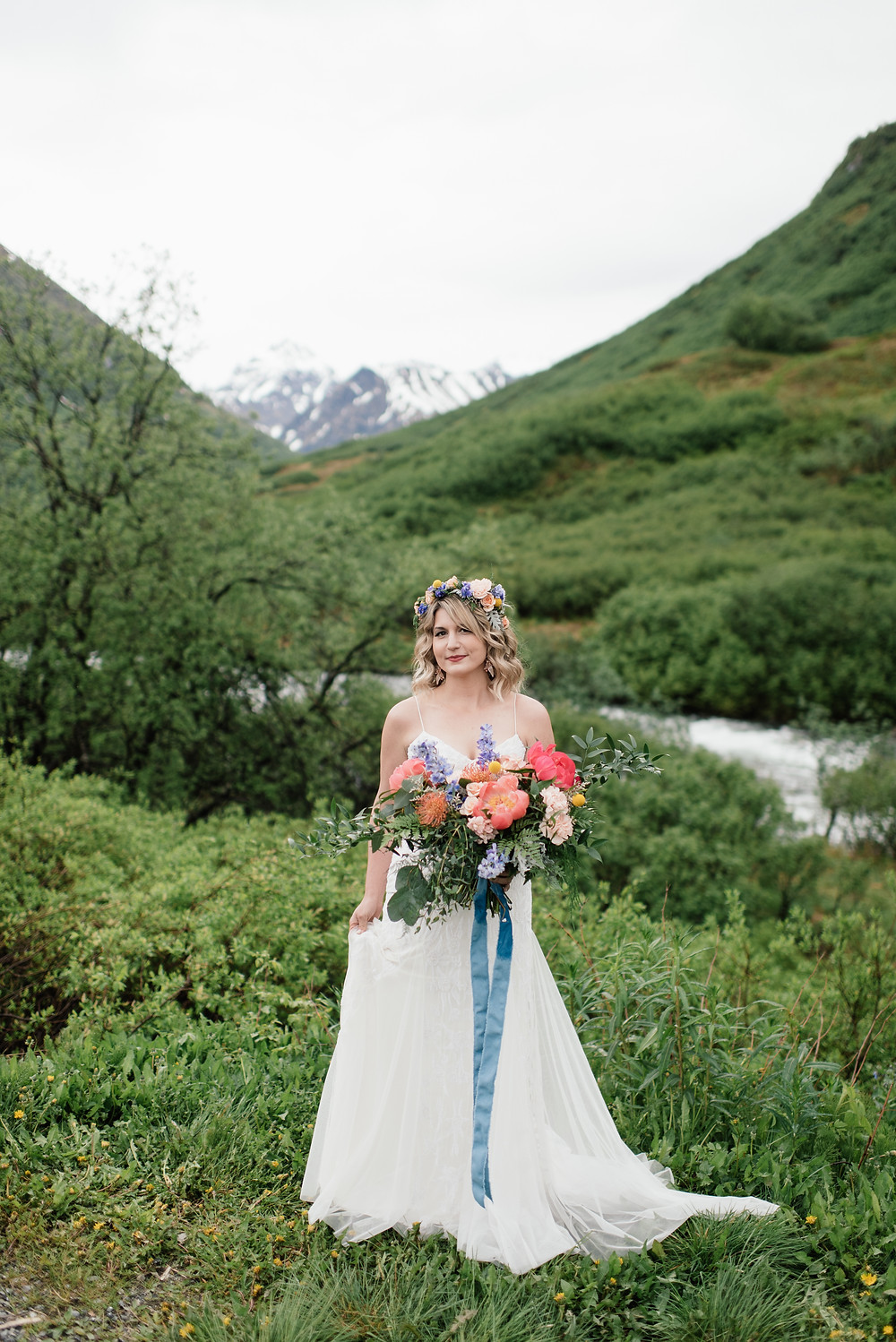 Couple photography up Hatcher Pass Helicopter ceremony, Elope to Alaska with guests, private and remote location