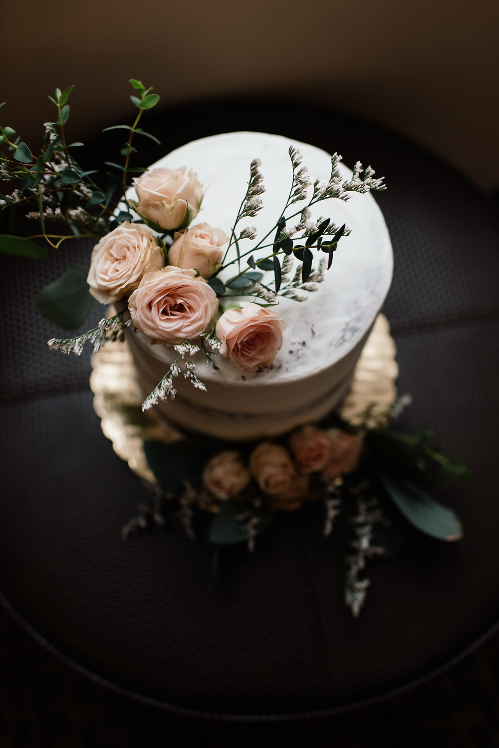 Alaska rustic and vintage elopement cake, naked cake with blush roses