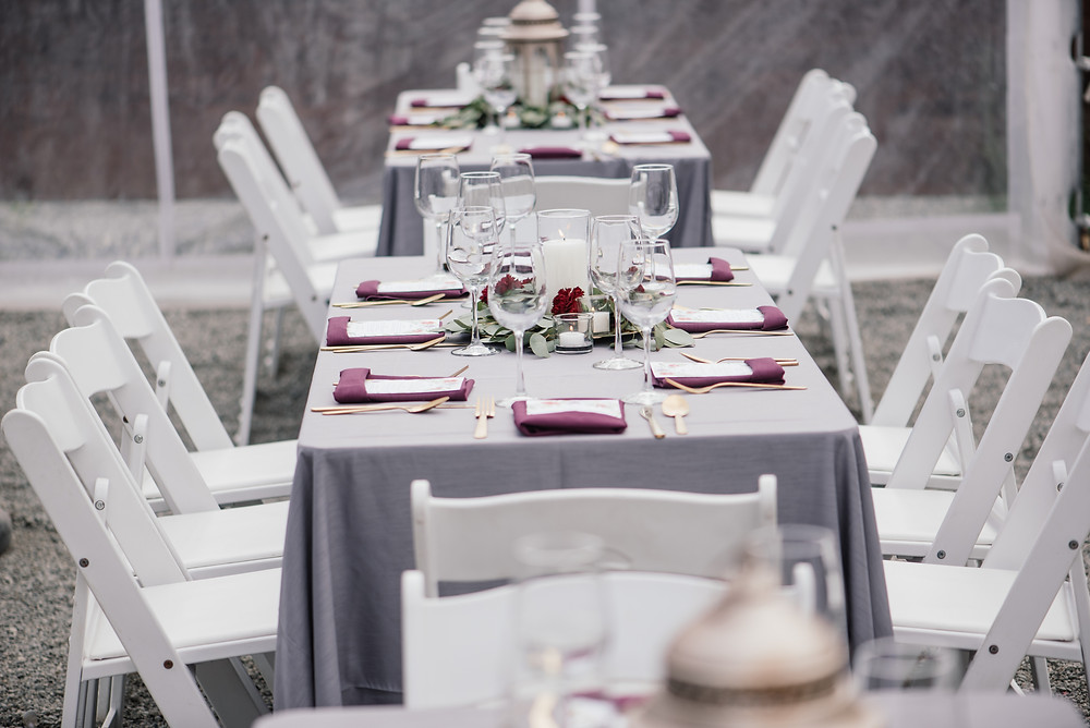 Charcoal, raspberry and gold place setting, wedding