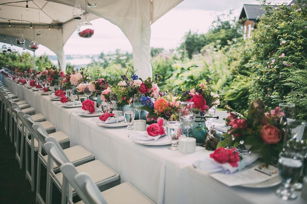 Field to Vase Dinner, Homer, Alaska dining with peonies