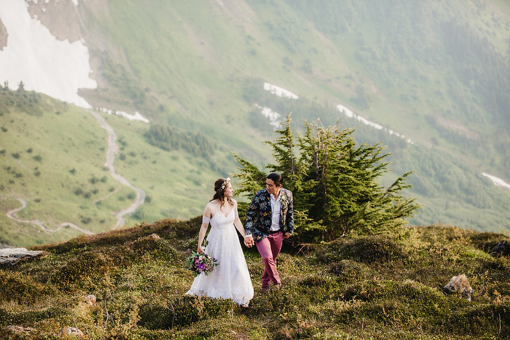 Mountain, hiking, Alaska elopement