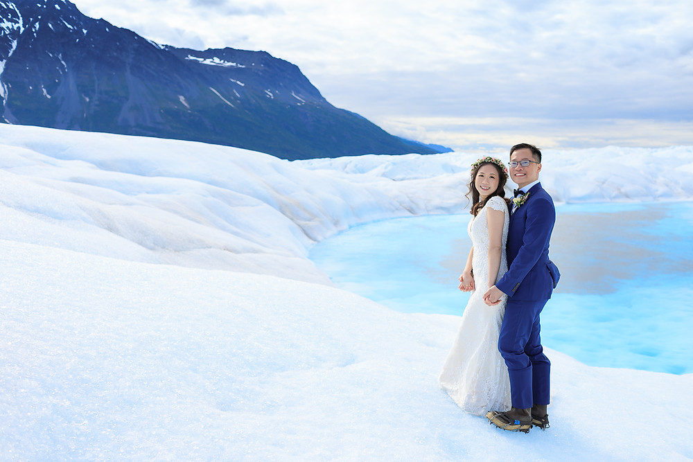 Elope with La Boum Events, our couple went by helicopter out to a glacier for a beautiful ceremony
