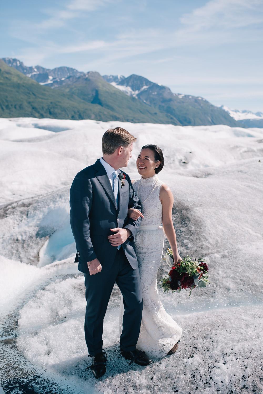 Alaska adventure elopement, elope to Alaska, glacier elopement, helicopter