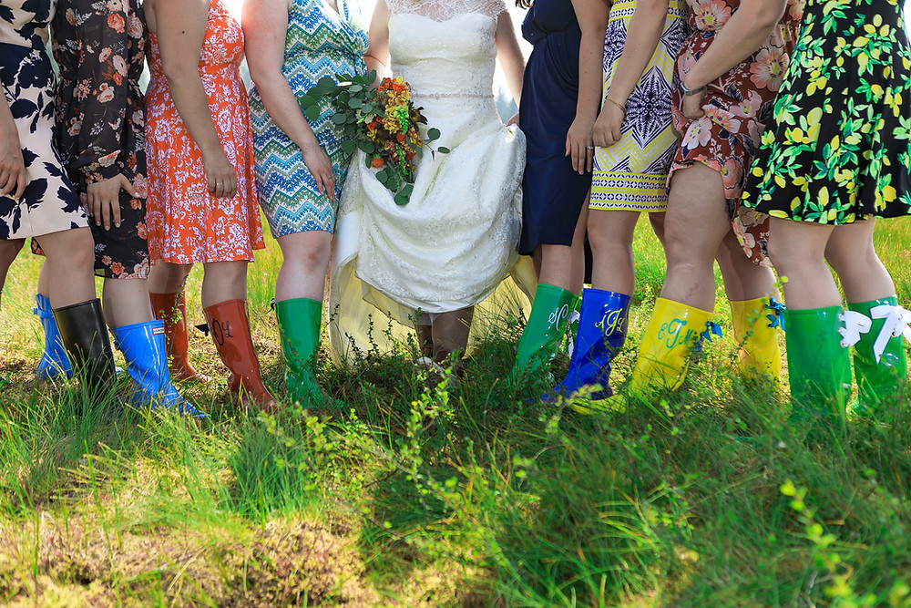 Monogramed rubber boots for mountain meadow wedding, Alaska destination wedding, micro wedding