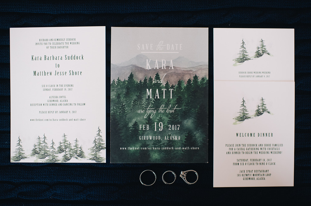 Forest and mountains wedding invitation for Girdwood, Alyeska minted.com wedding planner and design