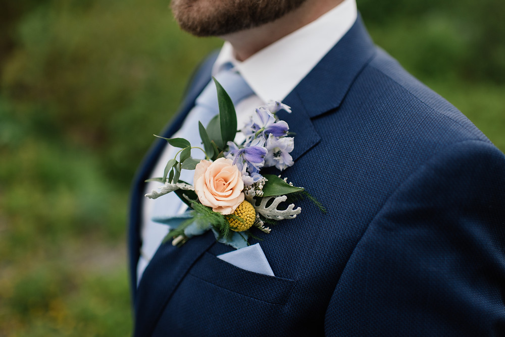 Alaska grown and designed boutonniere for elopement