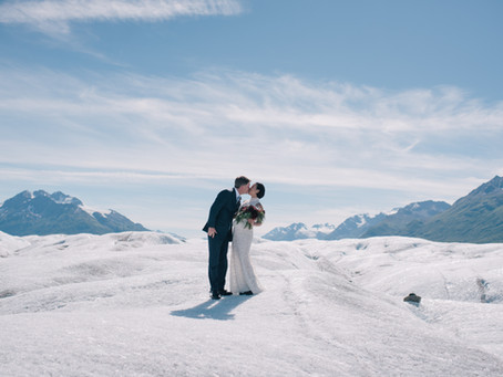 Bright and Sunny Alaskan Glacier Elopement