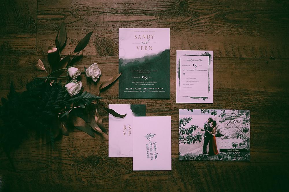 Greenery wedding themed invitation, wedding planning