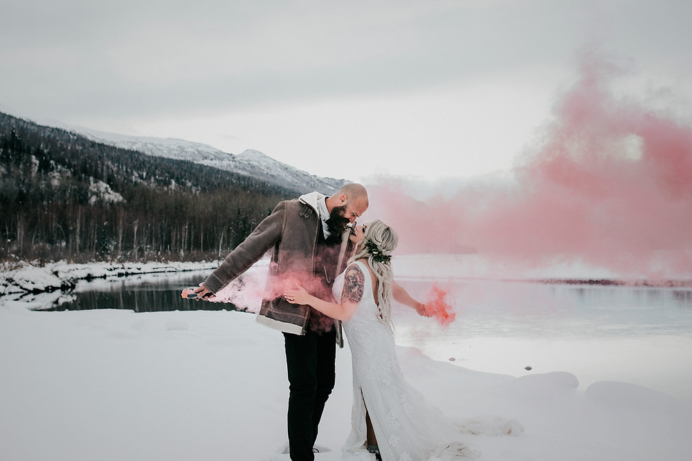 smoke bombs for romantic Alaska elopement