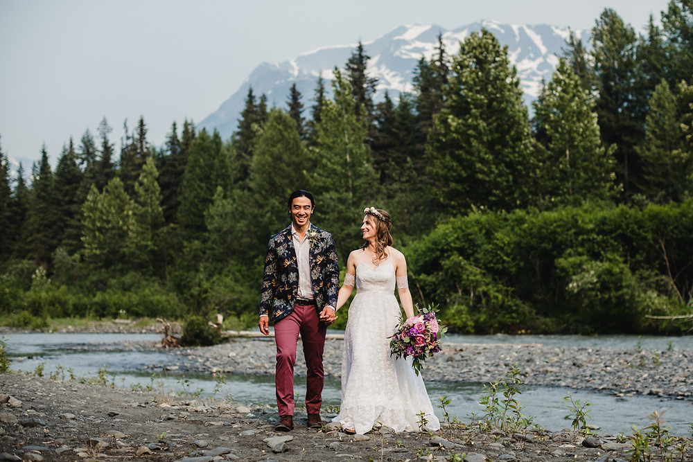 Girdwood riverbed elopement, elope to Alaska