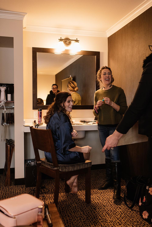 Style forward clients eloping to Alaska, getting ready wedding photos