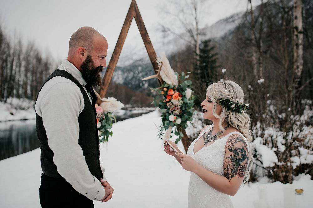 Alaska snowy winter elopement at Eklutna Tail Race