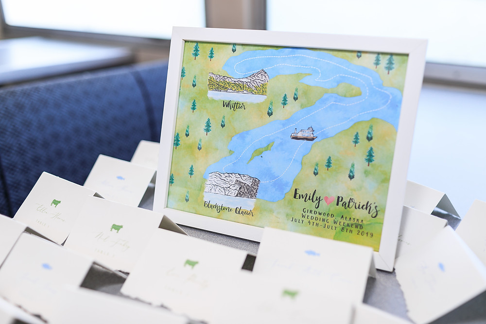 Handmade personalized map of glacier tour, black stone bay, micro wedding, Alaska destination wedding