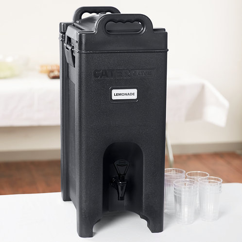 5 gallon black insulated beverage dispenser