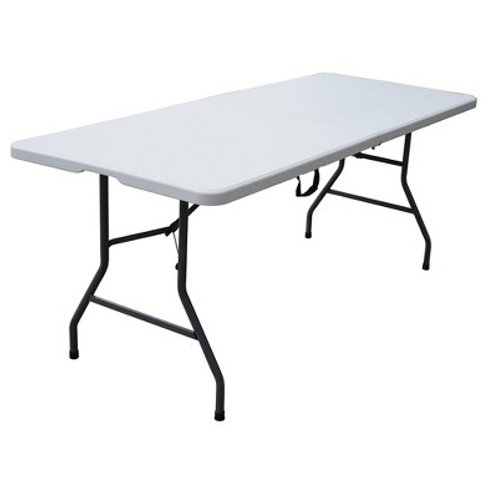 "6"" White Plastic Banquet Table"