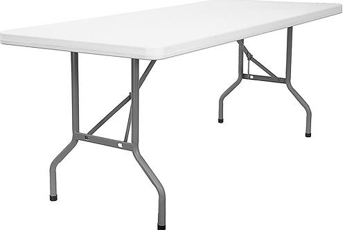 8' White Plastic Banquet Table