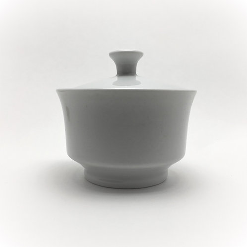 Classic White Rim Sugar Bowl