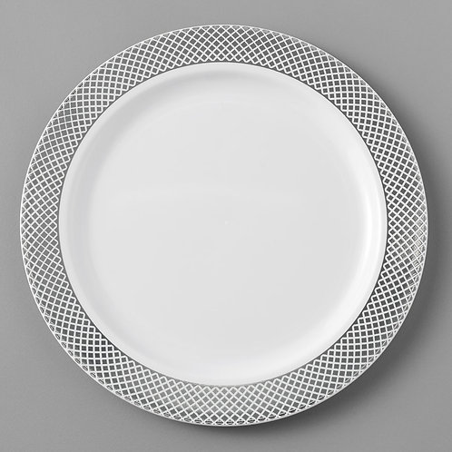 """Disposable 6"""" White Plate with Silver Lattice"""