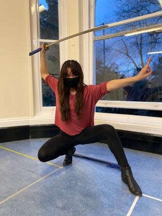 Kat's inner Ninja wielding the Katana