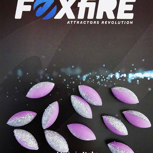 Foxfire Ovale 6 mm Viola & Argento Glitter