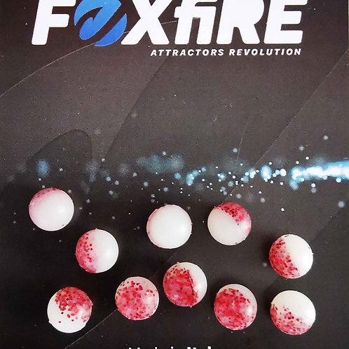 Foxfire Sfera 8 mm Bianco & Rosso Glitter