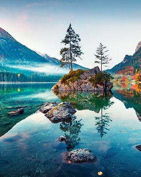 Beautiful autumn scene of Hintersee lake