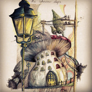 The Shadow Sleeps - Mushroom House watercolour/ ink and pencil on paper