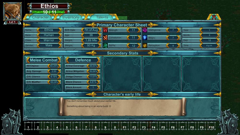 Rogue Empire - Character Screen