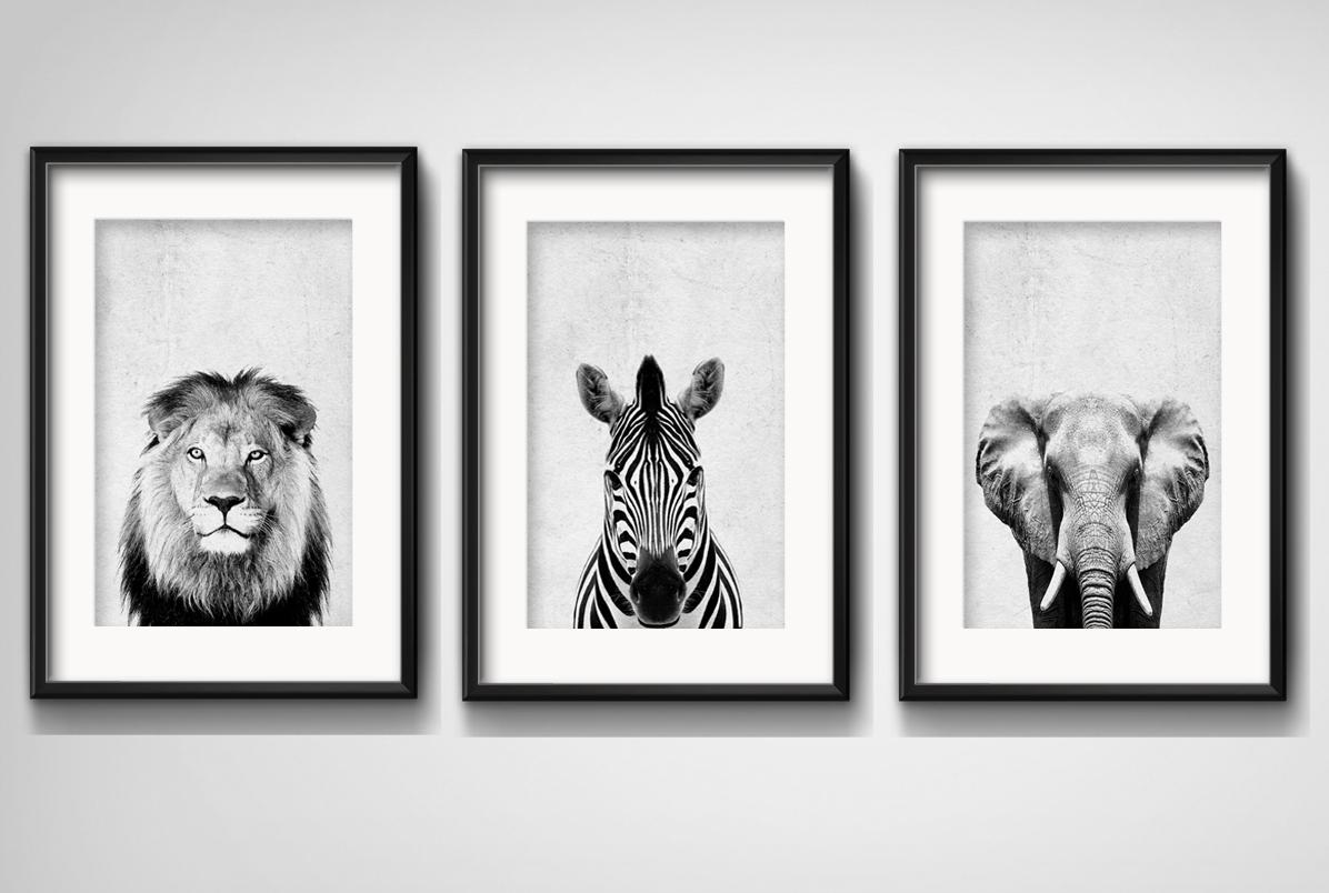 3-quadros-leao-zebra-elefante-preto-branco-com-paspatur-escritorio