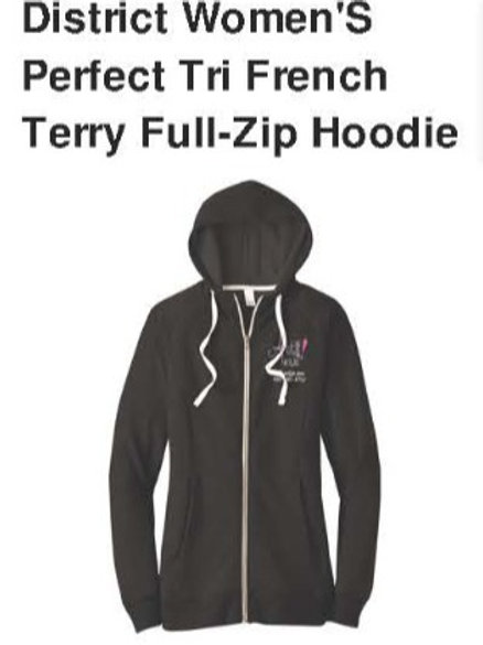 District Ladies Perfect Tri French Terry Full-Zip Hoodie