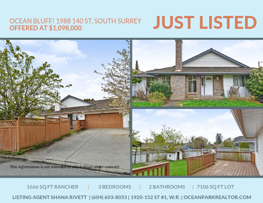 Just listed in Ocean Bluff, South Surrey!