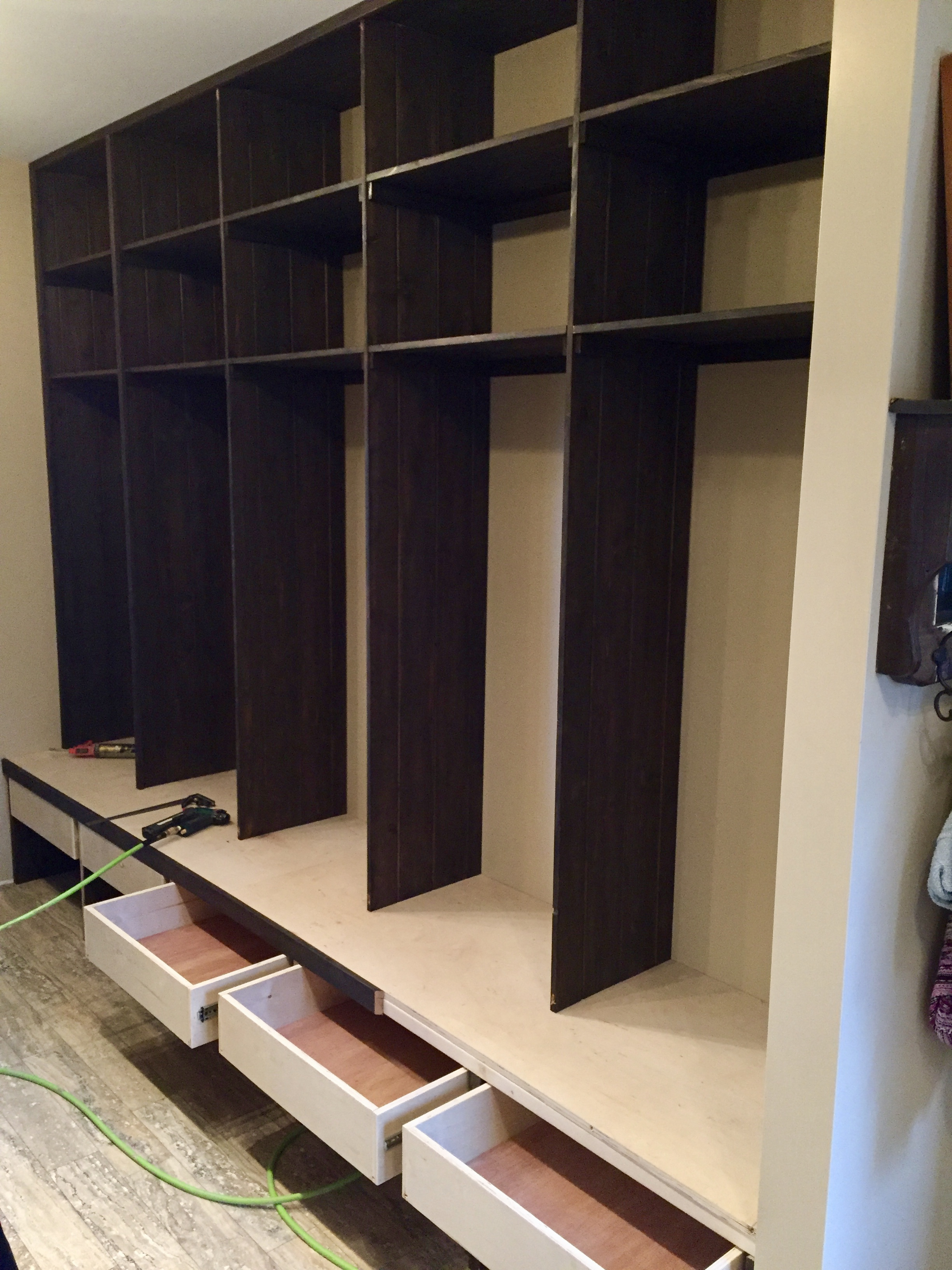 Mud room lockers - tongue and groove
