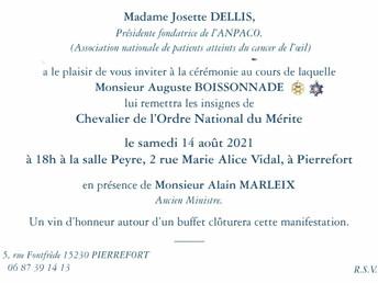 Josette DELLIS, Présidente-Fondatrice de l'ANPACO, décorée de l'Ordre National du Mérite