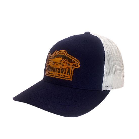 Leather/Navy Blue/White Walleye Logo Cap