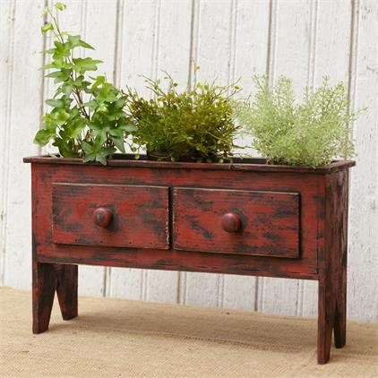 Red Wood Cabinet Planter